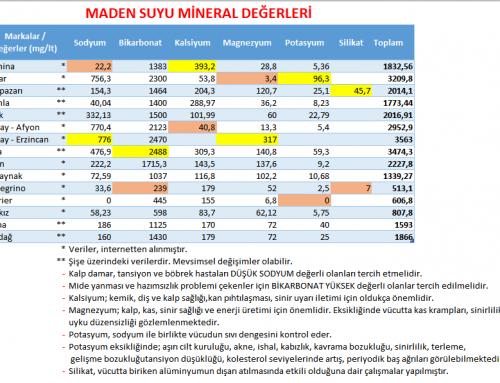 Maden suyu mineral değerleri